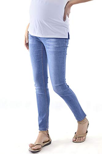 WuhouPro Womens Super Stretch Adjustable Maternity Jeans AZ 1302 L.Blue XXL