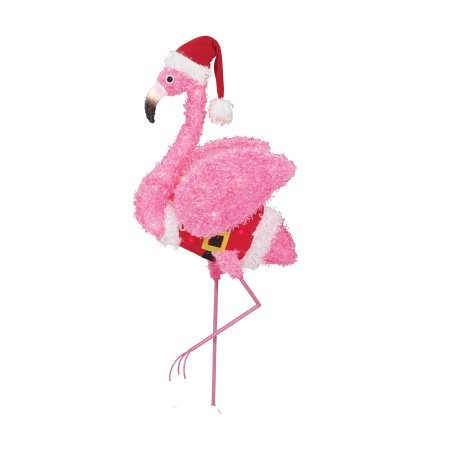 Holiday Time Fluffy Flamingo (Pink Fluffy Flamingo) (Simple) ()