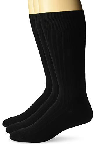 BUTTONED DOWN Men's 3-Pack Premium Ribbed Soft Dress Socks, Black, Shoe Size: -
