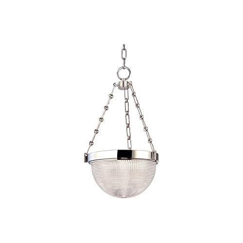 (Winfield 2-Light Pendant - Polished Nickel Finish with Clear Pressed Prismatic Glass Shade )