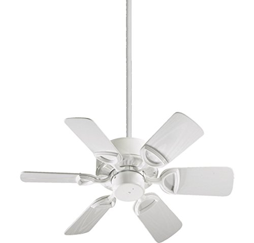 Quorum International 143306-6 Estate 6-Blade Patio Ceiling Fan with White ABS Blades, 30-Inch, Gloss White - Ceiling Blades Gloss Fan High