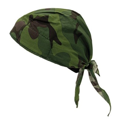 OccuNomix TN6-JFL Jungle Camouflage Tuff Nougies 100% Cotton Deluxe Doo Rag Tie Hat With Elastic Rear Band (1/EA) - Tuff Nougies Doo Rag