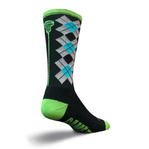 Sockguy Crew 8in Check Sticks Lacrosse Socks-Black-S/M