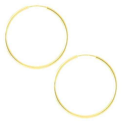 So Chic Bijoux © Boucles d'oreilles Créoles Flexibles Femme Diamètre 30 mm Fil de Boucle 1,5 mm - Or Jaune 375/000 (9 carats)
