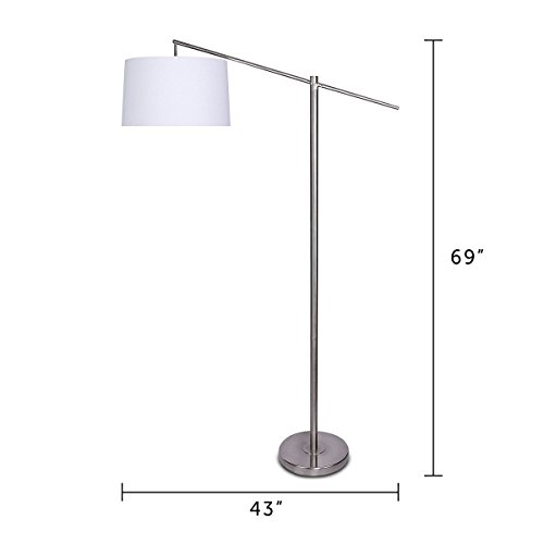 Cheap grandview gallery task floor lamp with white shade brushed 9999 aloadofball Gallery