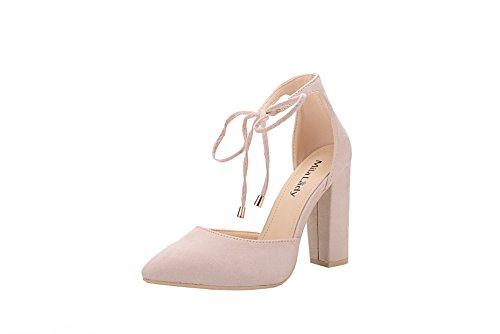 Mila Lady BERYL-02 DOrsay Classic Ankle Strappy Lace Elegance Platform Lady Heels ! Blush