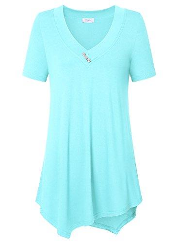 Epaule La Chemise T Ca Blouse Casual Courtes Manches Femmes Lumire Bleue Et Nu Shirt Tunique Kra OqwAcaq8