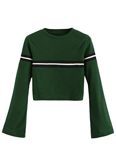SweatyRocks Women's Casual Long Sleeve Striped Ribbed Pullover T-Shirt Sweater Knit Crop Top Green - Sleeve Pullover Ribbed Long