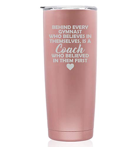 Rose Gold Double Wall Vacuum Insulated Stainless Steel Tumbler Travel Mug Gymnastics Coach Gift (Skinny 20 oz)