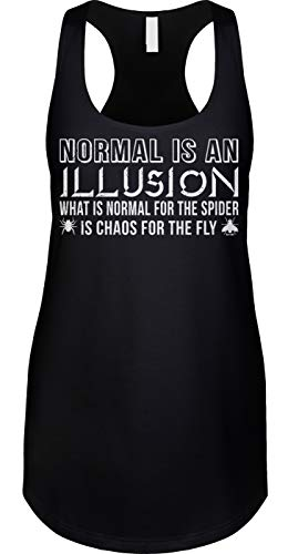 Blittzen Womens Tank Normal is an Illusion - Quote Saying, L, Black