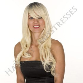 Long Bleach Blonde Wavy Wig with Dark Roots Effect | Soft Fringe | Face Framing