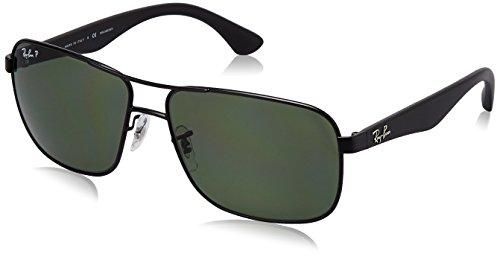 Ray-Ban Polarized RB3516 Sunglasses - Matte Black Frame/Green Lens