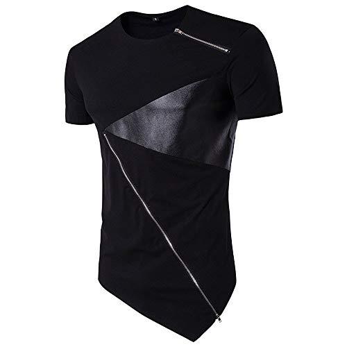 Dressin Shirt for Men, Mens Irregular Hem T Shirt Cotton Short Sleeve Hedging Slim Fit Tops Tees Tunic ()