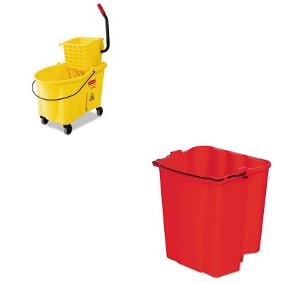 kitrcp618688ywrcp9 C74red – Valueキット – Rubbermaid 6186 – 88 WaveBrake 44 Qt Side押しコンボ(rcp618688yw) とRubbermaid Dirty水バケットfor WaveBrakeコンボ18 Quarts (rcp9 C74red) B00MOKZSDS