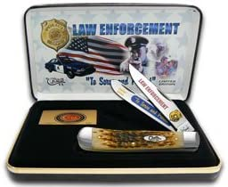 Case Cutlery CAT-LE Case s Law Enforcement Handle Trapper Pocket Knife with Tru Sharp Surgical Steel Blades, Amber