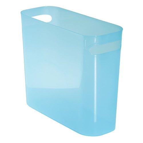 """InterDesign Una Wastebasket Trash Can 10"""", Water"""