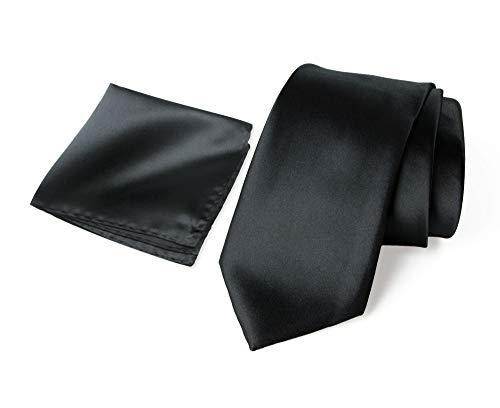 (Spring Notion Men's Solid Color Satin Microfiber Regular Tie and Hankerchief Set Black)