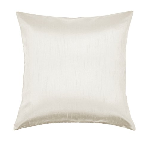 Aiking Home Solid Faux Silk Euro Sham/Pillow Cover, Zipper Closure, 26 by 26 Inches, Ivory