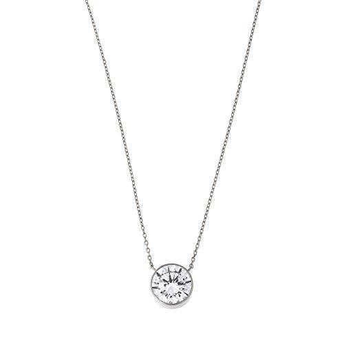14k White Gold Bezel Set 8mm Cubic Zirconia Solitaire Pendant Necklace, 16