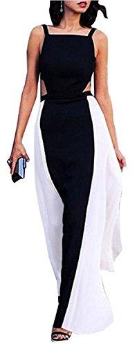 ainrving Women's Sexy Sleeveless White Black Paneled Party Clubwear Maxi Dress Photo - Place Wheelock