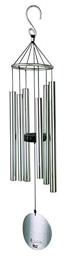 Silver Aureole Tuned Wind Chime, Soothing Melodic Tones with 6 Aluminum Tubes Chime, Amazing Grace Memorial Wind Chimes for Mom, Dad's Gift or Keep for Your Patio, Porch, Yard (42 inches)