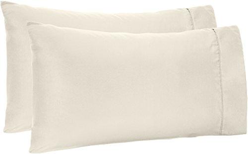 - AmazonBasics Microfiber Pillowcases, Set of 2, Standard, Cream
