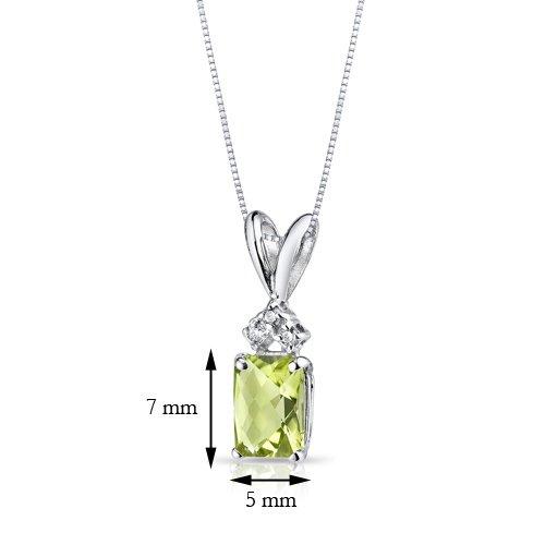 Or blanc 14carats Diamant Radiant 1.00carats Peridot Pendentif