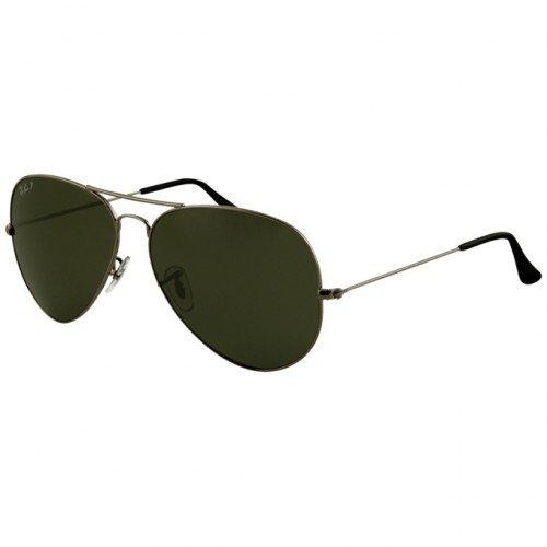 Ray-Ban Aviator Large Metal Sunglasses Rb3025 004/58 Gunmetal Crystal Green Polarized