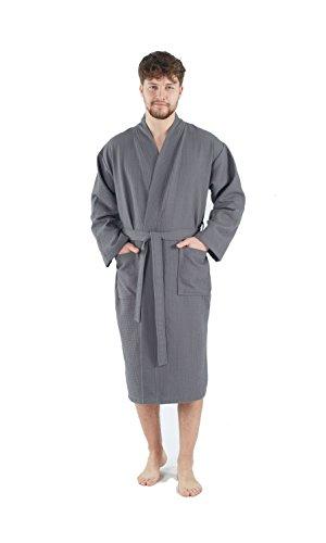 Bagno Milano Mens Waffle-Knit Bathrobe -Turkish Cotton Lightweight Spa Robe, Medium -
