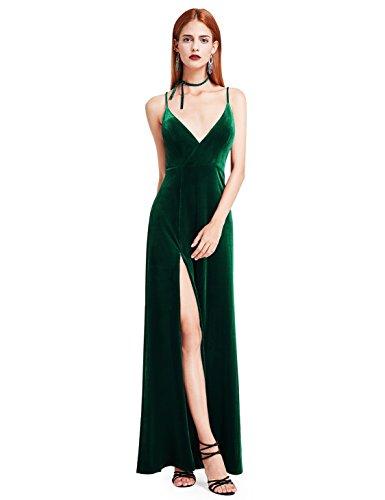 Ever-Pretty Floor Length Velvet V-Neck Evening Dresses for Women 8 US Dark Green