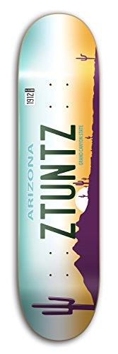ZtuntZ Skateboards Arizona License Plate Park Skateboard Deck, Green/White/Yellow/Purple, 7.5 x 31-Inch/14-Inch WB