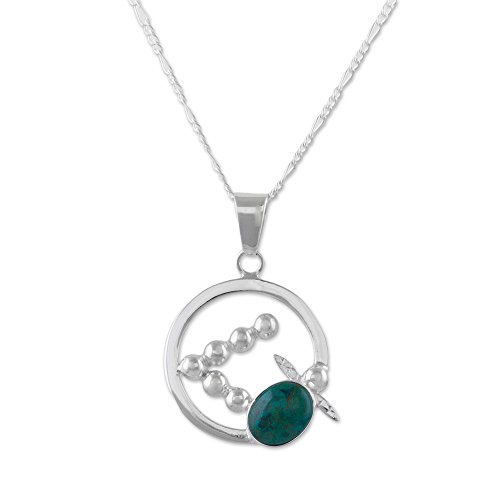 NOVICA Chrysocolla .925 Sterling Silver Pendant Necklace 'Flying Turtle'