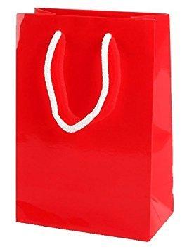 15 Rosa lucida del partito della carta calda Sacchi con corda Maniglie Dimensioni 15 cm x 22 cm x 8 cm Thepaperbagstore/™