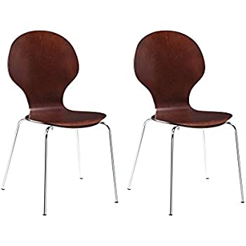 novogratz shell bentwood chair with silver chrome rounded legs set of 2 espresso