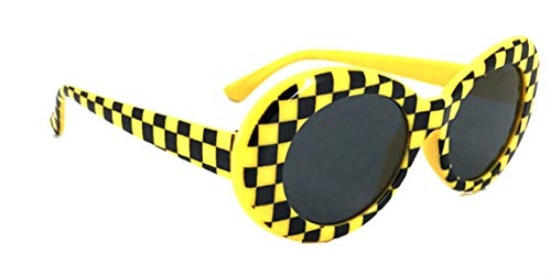 (WebDeals - Oval Round Retro Sunglasses Color Tint or Smoke Lenses (Yellow Checkerboard, Smoke)...)