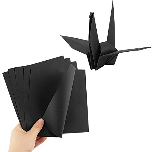Origami Paper, Dedoot 200 Sheets Black Double Sided Origami Paper Square 6x6 Inch Folding Paper for Arts and Crafts Projects