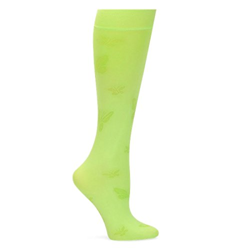 - Nurse Mates Women's Patterned 11 Mmhg Compression Knee-High Lightweight Trouser Socks Lime