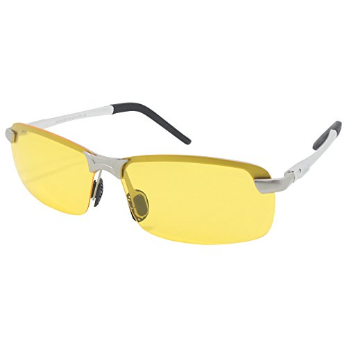Visión MG Ultraligero de AL Plata Lente al de Nocturna del Marco de LZXC de Sol Polarizadas de Hombre Ajustable libre Deportes Gafas Gafas Visión Irrompible Lente HD aire Día Marco Nocturna Conducción RSY1WYt