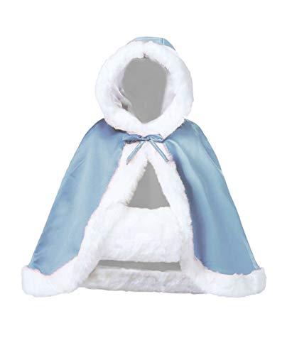 Wedding Cape Hooded Cloak for Bride Winter Reversible with Fur Trim Free Hand Muff Hip-length Powder Blue