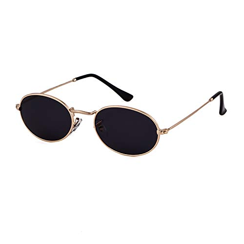 Vintage Sunglasses Retro Oval Designer Sunglasses For Women Men (Gold Frame Grey Lens, 42) (Sunglasses Oval For Women)