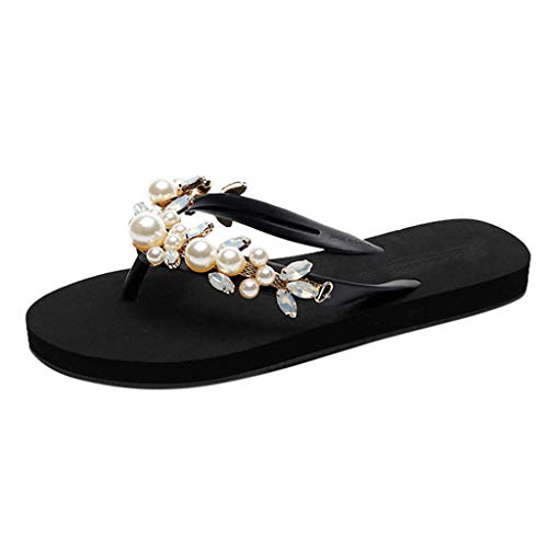 Summer Sandals Simayixx Women Sexy Rhinestone Shoes Pearl Slip-On Slippers Beach Boho Flip Flops Swimming Pool Yoga Shoe Black ()
