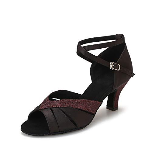Yokala Ballroom Dance Shoes Women Open Toe Latin Salsa Practice Dancing Shoes 2.5 Inch Heel(7,Black-2.5 Inch Heel)