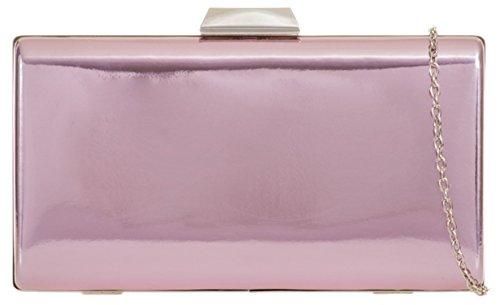 Plain Clutch Case Girly Hard Handbags Pink Bag 5Rxwnv
