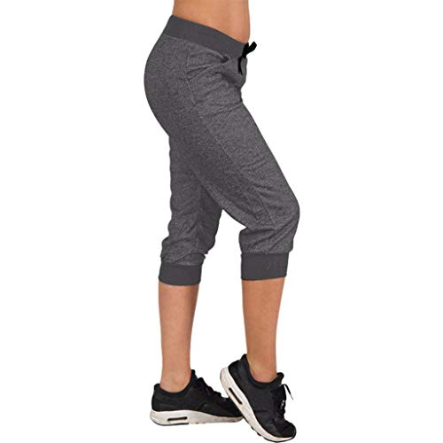 LISTHA Sports Outdoor Jogger Pants Women Drawstring Summer Yoga Capri Pockets Black