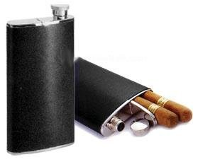 Cigar Case Flask Combo Hip Flask (4 Oz) w/ Cigar Holder - Cigar Flask Personalized