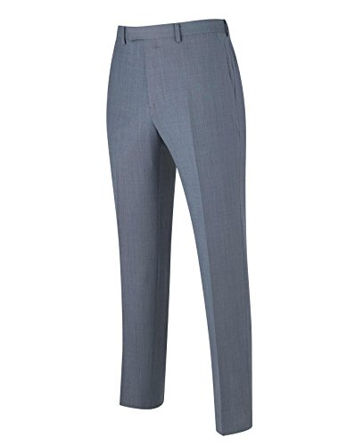 The Savile Row Company Savile Row Men's Blue Grey Tailored Business Dress Pant 34'' 32'' by The Savile Row Company (Image #2)