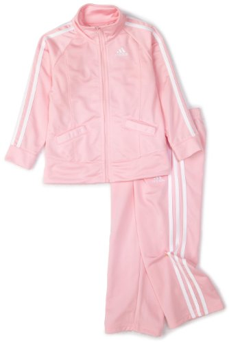 adidas Toddler Girls' Tricot Zip Jacket and Pant Set, Light Pink Basic, 2T