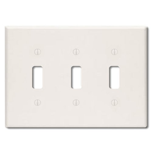 Leviton 78011 000-000 3-Toggle Standard Size Wall Plate, 3 Gang, 4.5 in L X 6.37 in W 0.25 in T, Light, Smooth, 1-Pack Almond