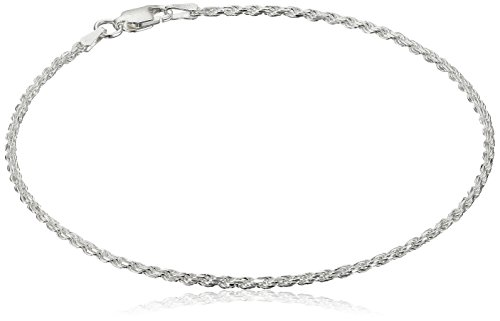 Sterling Silver Diamond Cut Rope Anklet, 9
