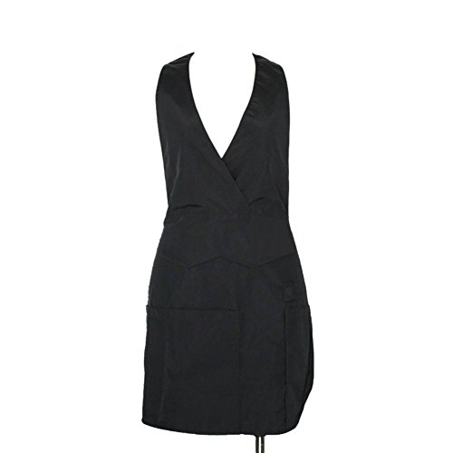 - (Price/each) Opromo Short Soft V-Neck Tuxedo Apron with Three Pockets, Two Colors, 23 1/2